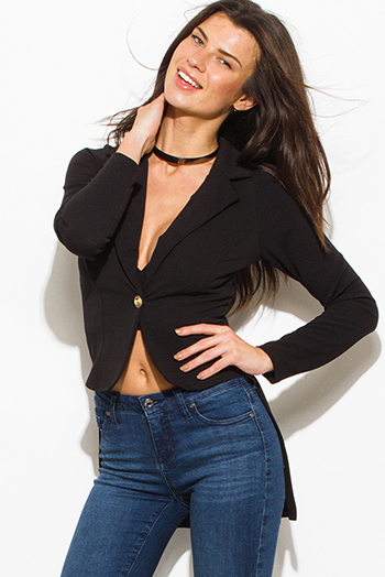 $12 - Cute cheap high neck fitted romper - black golden button fitted long sleeve high low hem tuxedo blazer jacket
