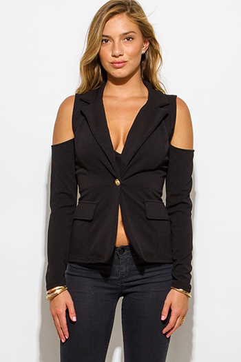 $25 - Cute cheap charcoal gray cotton blend black trim cold shoulder long sleeve bodycon fitted bodysuit top - black golden button long sleeve cold shoulder cut out blazer jacket
