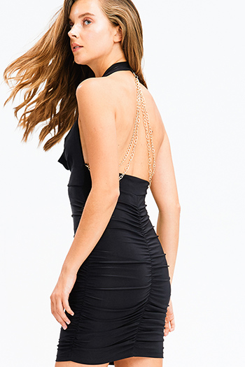 $15 - Cute cheap pocketed boho mini dress - black halter cowl neck ruched backless chain bejeweled fitted party sexy club mini dress