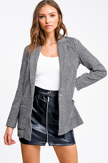 $15 - Cute cheap white asymmetrical hem quarter sleeve zip up fitted blazer jacket top - Black herringbone knit pocketed open front tweed blazer coat jacket top