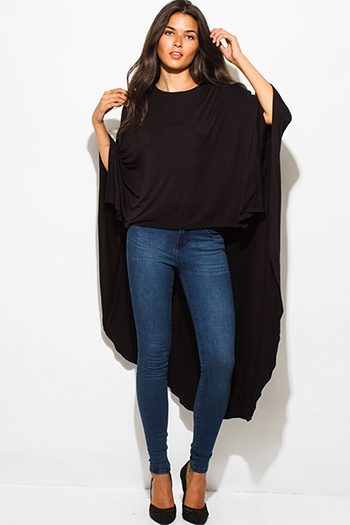 $15 - Cute cheap black low neck short sleeve slub tee shirt top - black high low hem boat neck long sleeve knit poncho tunic top