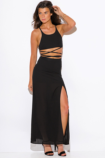 $20 - Cute cheap black chiffon spaghetti strap tiered side slit evening sexy party maxi sun dress - black high slit crepe evening cocktail party maxi two piece set dress