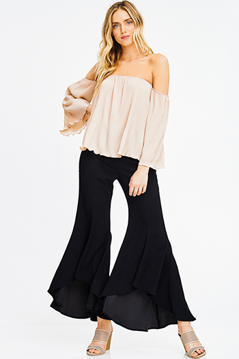 $20 - Cute cheap ivory white chiffon contrast laceup half dolman sleeve high low hem boho resort tunic blouse top - black high waist flare wide leg high low boho ruffle palazzo pants