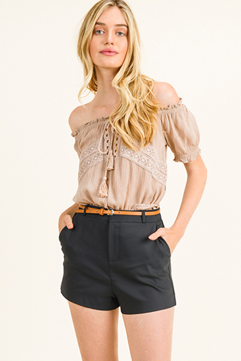 $10 - Cute cheap wide leg pocketed jumpsuit - Black high waisted pocketed belted tailored chino shorts