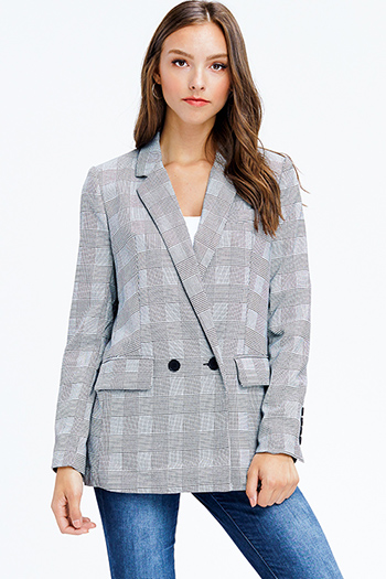 $15 - Cute cheap ivory white textured semi sheer chiffon cut out laceup long sleeve button up blouse top - black houndstooth check knit long sleeve double button classic blazer jacket