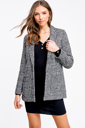 $20 - Cute cheap white asymmetrical hem quarter sleeve zip up fitted blazer jacket top - Black houndstooth check tweed long sleeve pocketed open front blazer coat jacket top