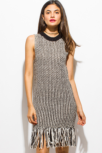 $20 - Cute cheap white sexy club midi dress - black houndstooth sweater crochet knit sleeveless fringe trim pencil fitted midi dress