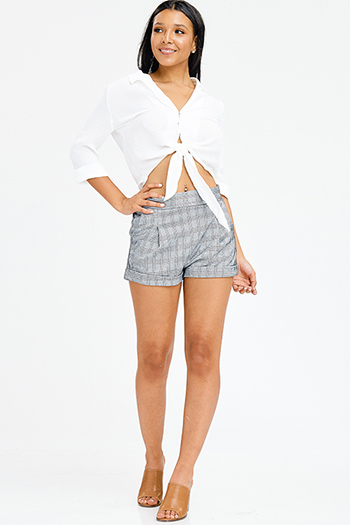 $15 - Cute cheap blue washed denim mid rise destroyed ripped skinny jeans - black houndstooth tweed mid rise reversible tie front pocketed cuffed hem trouser shorts