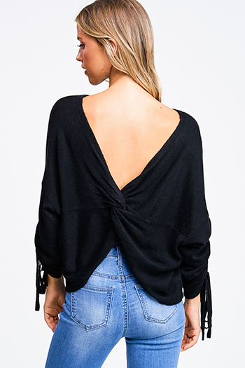 $25 - Cute cheap print chiffon boho top - Black knit drawstring ruched long sleeve twist knotted open back boho sweater top