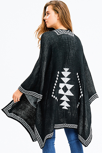 $25 - Cute cheap leather cape jacket - black knit ethnic print button closure boho sweater shawl poncho jacket