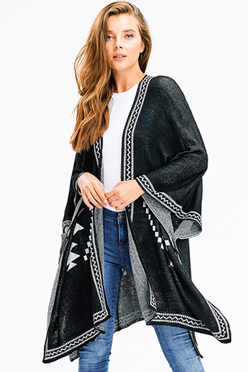 $25 - Cute cheap stripe asymmetrical poncho - black knit ethnic print button closure boho sweater shawl poncho jacket