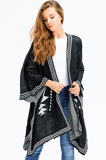 $25 - Cute cheap ivory beige sweater knit ethnic print fringe trim boho shawl poncho cardigan jacket - black knit ethnic print button closure boho sweater shawl poncho jacket