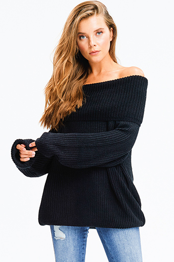$25 - Cute cheap hunter green ribbed knit off shoulder long sleeve laceup front fitted sexy club party top - black knit long bubble sleeve cowl neck off shoulder boho sweater top