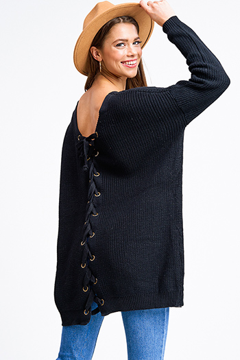 $30 - Cute cheap slit bodycon sweater - Black knit long sleeve v neck caged laceup back boho tunic sweater top