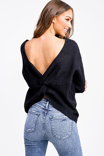$25 - Cute cheap v neck slit jumpsuit - Black knit long sleeve v neck twist knotted back boho sweater top