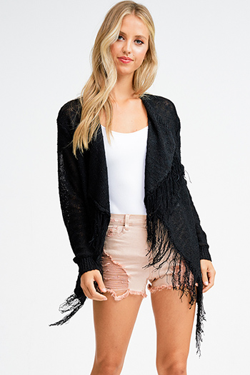 $15 - Cute cheap khaki brown faux suede fringe trim asymmetric hem boho cape shawl top - Black knit waterfall fringe trim open front boho sweater cardigan