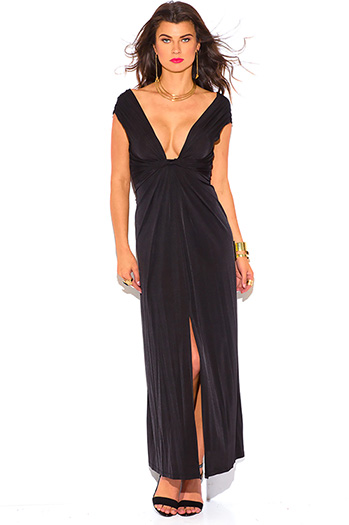 $15 - Cute cheap black backless fitted sexy party dress - black knot front deep v neck high slit backless evening party maxi dress