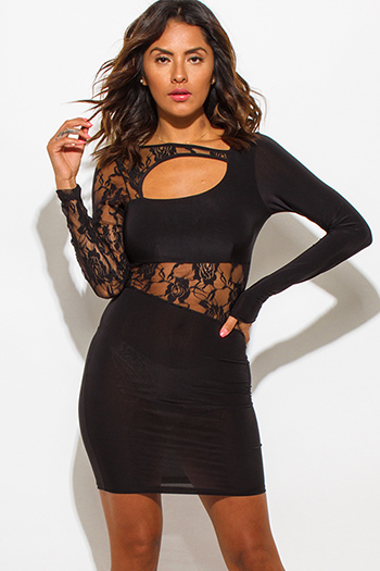 $15 - Cute cheap black abstract print shimmery metallic long sleeve fishnet mesh contrast cut out wrap front halter bodycon fitted sexy club mini dress - black lace contrast cut out fitted clubbing bodycon mini dress