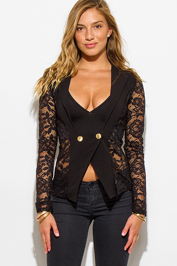 $20 - Cute cheap black sheer blazer - black lace sleeve double breasted golden button blazer top