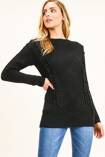 $20 - Cute cheap slit bodycon sweater - Black laceup front long sleeve boho sweater knit top
