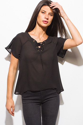 $10 - Cute cheap ivory white textured fabric deep v neck tiered ruffle high low hem blouse jacket top - black laceup v neck short sleeve sexy party blouse top