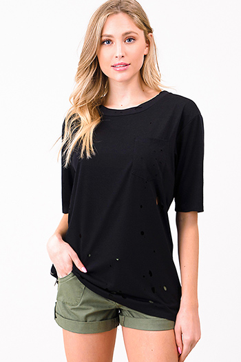$15 - Cute cheap black floral checker print off shoulder tie short sleeve boho sexy party top - Black laser cut destroyed zip up side short sleeve tee shirt top