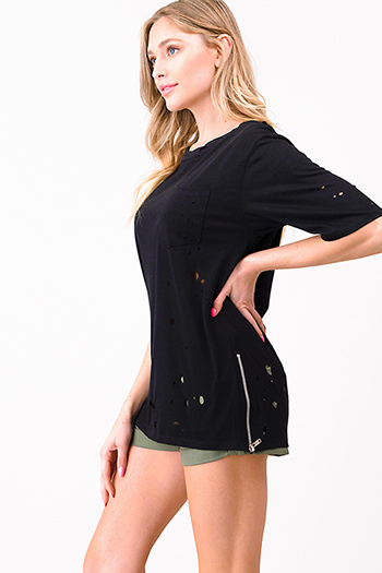 $15 - Cute cheap black pinstripe collarless short cuffed cap sleeve zip up blouse top - Black laser cut destroyed zip up side short sleeve tee shirt top