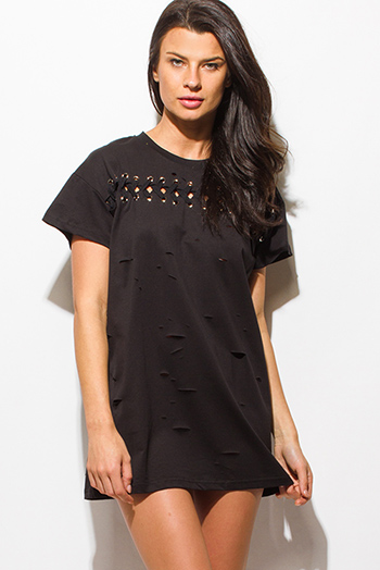 $15 - Cute cheap sheer tunic dress - black laser cut distressed eyelet laceup short sleeve tee shirt tunic top mini dress
