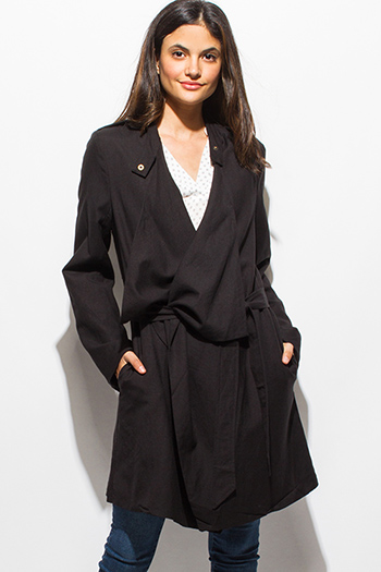 $20 - Cute cheap black linen long sleeve drape collar belted pocketed trench coat jacket