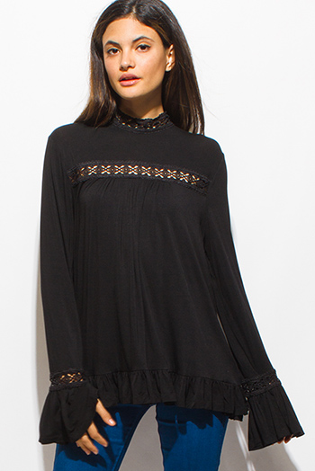 $15 - Cute cheap lace slit blouse - black long bell sleeve crochet lace trim ruffled boho peasant blouse top