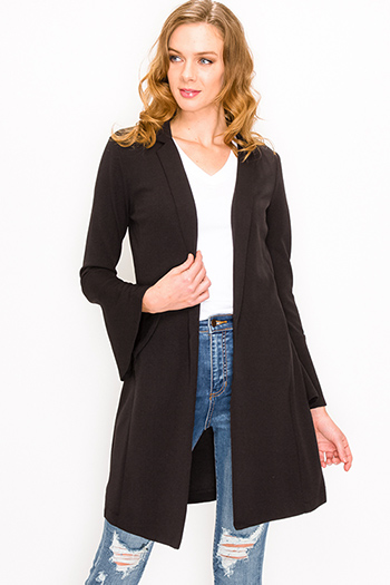 $20 - Cute cheap blue chambray long sleeve button up drawstring belted boho shirt dress - Black long bell sleeve open front pocketed boho duster blazer cardigan