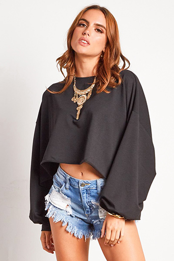 $15 - Cute cheap black embroidered laceup caged back boho peasant tank top - black long bubble sleeve cropped oversized sweatshirt top