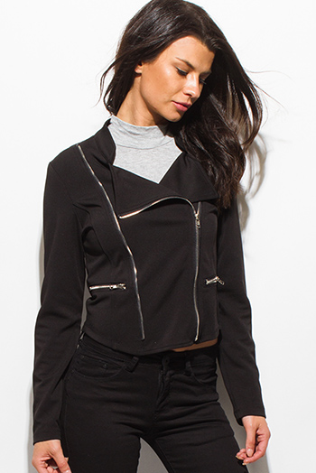 $20 - Cute cheap satin asymmetrical blouse - black long sleeve asymmetrical zip up fitted moto blazer jacket