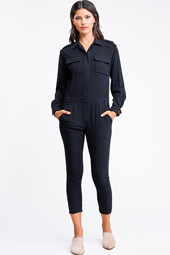 $15 - Cute cheap floral wide leg jumpsuit - Black long sleeve button up belted tapered leg coverall cargo utility jumpsuit