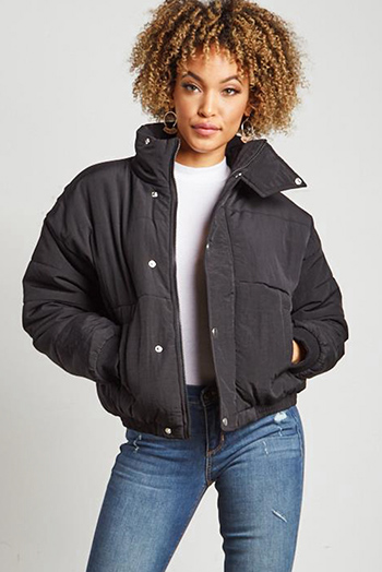 $40 - Cute cheap black shorts - black long sleeve button up cropped puffer bomber down jacket
