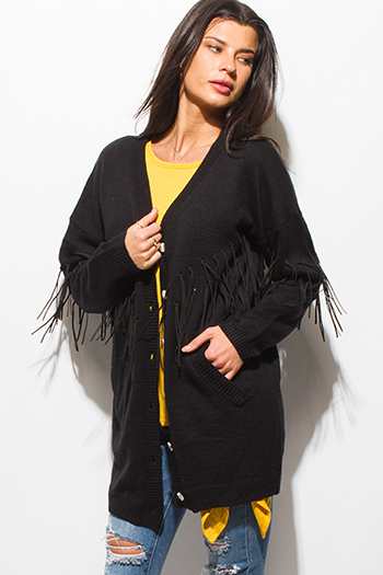 $20 - Cute cheap olive green front pocket long sleeve sweater knit top - black long sleeve button up fringe trim boho sweater knit cardigan jacket