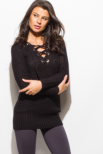 $20 - Cute cheap gray v neck dress - black long sleeve chunky knit laceup v neck sweater knit tunic mini dress