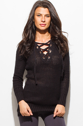 $20 - Cute cheap long sleeve catsuit - black long sleeve chunky knit laceup v neck sweater knit tunic top