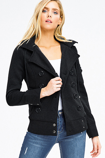$20 - Cute cheap navu blue cut out back long sleeve blazer jacket - Black long sleeve double breasted button up hooded pocketed jacket