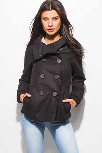 $20 - Cute cheap black puff shoulder long sleeve double breasted peacoat wool jacket - black long sleeve double breasted pocketed peacoat jacket