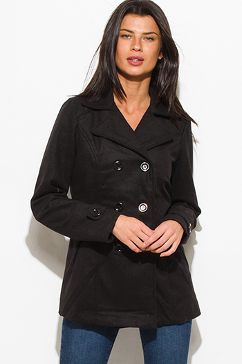$20 - Cute cheap sheer long sleeve jacket - black long sleeve double breasted pocketed peacoat jacket