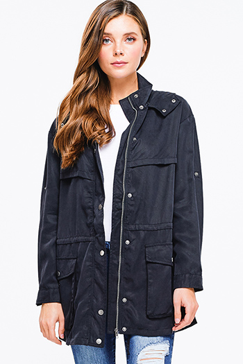 $20 - Cute cheap black long sleeve button up crop puffer bomber down jacket - Black tencel long sleeve drawstring waist button up zip up hooded anorak trench coat jacket