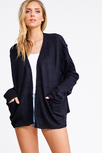 $15 - Cute cheap long sleeve sexy party top - Black long sleeve exposed stitch pocketed open front sweater cardigan
