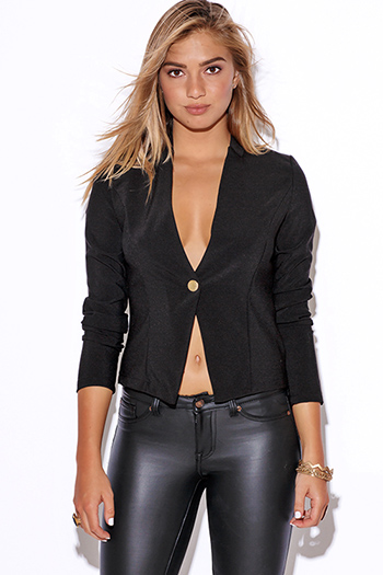 $15 - Cute cheap black sequined long sleeve cold shoulder cut out blazer jacket - black long sleeve fitted collarless suiting blazer