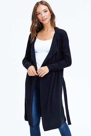 $25 - Cute cheap black mesh sexy club top - black long sleeve open front belted draped duster waterfall knit cardigan top