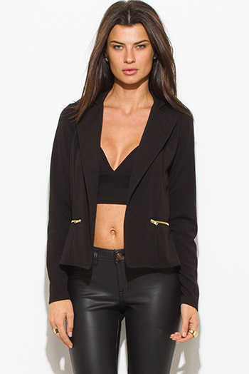 $25 - Cute cheap mint green black color block open front crop tuxedo blazer top - black long sleeve open front zipper pocket fitted blazer jacket