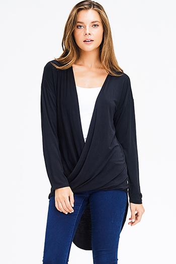 $15 - Cute cheap navy blue sheer crochet fringe trim open front boho kimono cardigan top - black long sleeve open twist front high low hem boho knit top