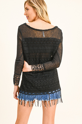 $15 - Cute cheap sheer long sleeve blouse - Black long sleeve scoop neck crochet sweater knit fringe hem boho top