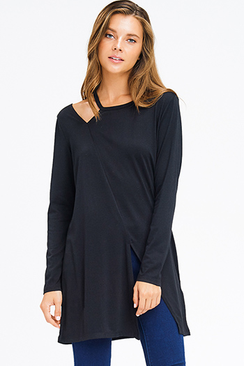 $15 - Cute cheap black crinkle satin spaghetti strap sheer lace hem boho crop tank top - black long sleeve shoulder cut out slit tunic top mini dress