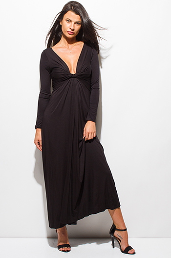 $15 - Cute cheap floral slit maxi dress - black long sleeve twisted deep v neck evening maxi dress